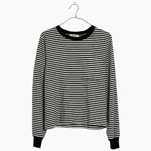 Madwell Black White Striped Long-Sleeve Tee M